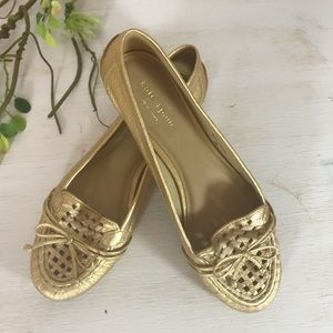 Kate Spade gold leather slip on flat shoes size 7